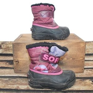 🎀3/30 Girls Purple Pink Sorel Winter Boots